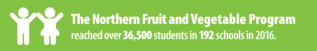 The Northern Fruit and Vegetable Program reached over 36,500 students in 192 schools in 2016.